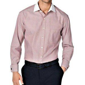 Tasso Elba Mens Bar Striped Button Up Dress Shirt